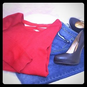 Cable & Gauge Red Sweater with Open Back (Size L)